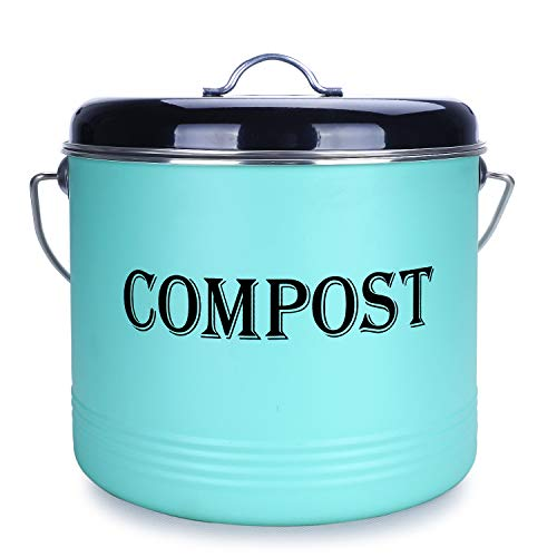 %9 OFF! 1.3 Gal Compost Bin for Kitchen Countertop With 7 BONUS Charcoal Filters - Vintage Indoor Sc...