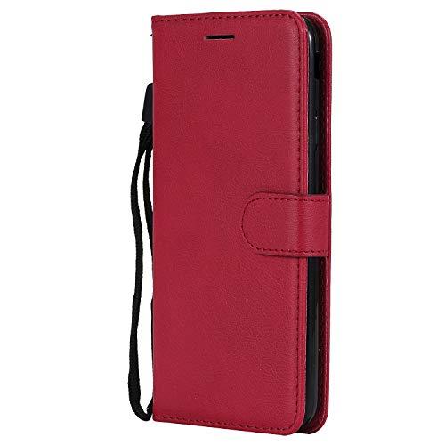 Hülle für Galaxy J7 Prime 2016 Hülle Handyhülle [Standfunktion] [Kartenfach] Tasche Flip Hülle Cover Etui Schutzhülle lederhülle flip case für Samsung Galaxy J7 Prime - DEKT050432 Rot