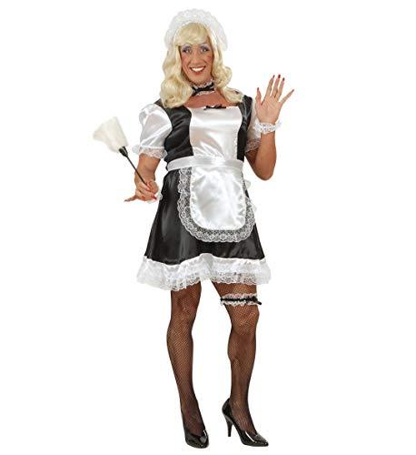 Party-Teufel® Komplett Kostüm Männer Zimmermädchen Kleid Schürze Haube Strumpfband Fischnetz-Strumpfhose Perücke Staubwedel French Maid Einheitsgröße Junggesellenabschied