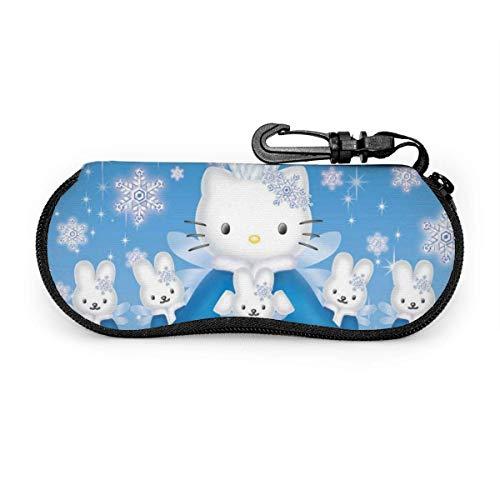 Fundas de Gafas Dibujos De Hello Kitty Estuche Viaje Gafas De Sol Estuche Unisex Funda Portátil Caja Prueba De Polvo Funda De Neopreno Con Cremallera