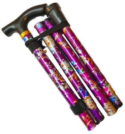 Flexibler Gehstock, einfach höhenverstellbar, zusammenklappbar, ausziehbar, für Unisex (violette Blume)