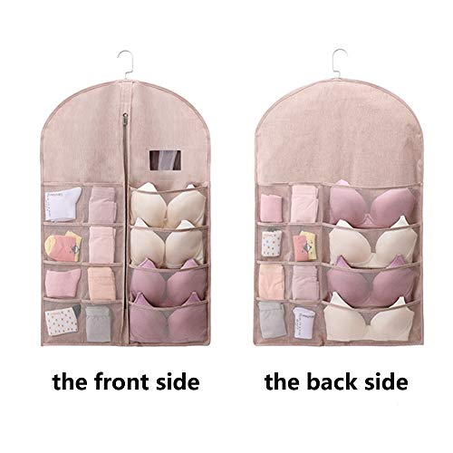 YOUJIA Costume Garment Bag Hanging Closet Organizer Space Saving Storage Holder with Pockets for Stockings Socks Underwear