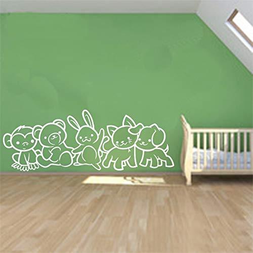 Niños lindos animales pegatinas de pared de vinilo arte decoración de la pared mural extraíble cartel habitación de los niños decoración de la casa del cuarto de niños A4 30x85cm