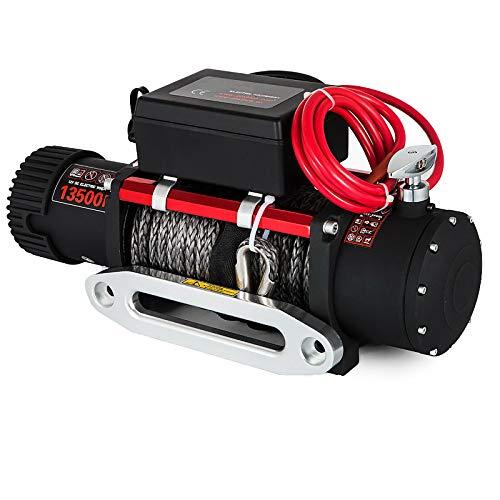 LiChenY 13500lbs 12V Cabrestante Eléctrico de Servicio Pesado Cabrestante de Cuerda Sintética Eléctrico Fairlead con Cabrestante de Control Remoto Cable de Acero Camión de Remolque (Size : A)