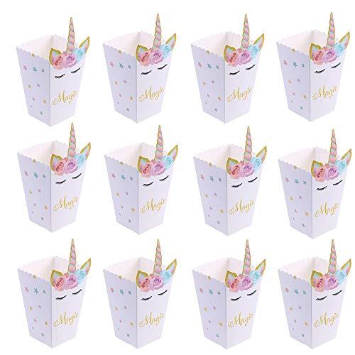 12PCS Cajas de Palomitas,Arco Iris patrón Unicornio Caja de meriendas Bolsas Palomitas Cartón de Caramelo Contenedor para Fiesta de Cumpleaños