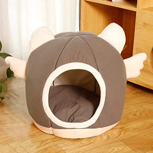 Cama Perro Gato Pequeño Cama Mascota Felpa Sofa Suave Cachorro Animales Domésticos Invierno, Cómoda y Lavable -绅士黑_M-45*41*28