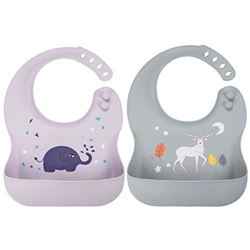 Yoofoss Baby Lätzchen Wasserdicht 2er Set Baby Silikon Lätzchen Babylätzche Halstücher BPA frei Silikonlätzchen mit Auffangschale für Jungen Mädchen Lila mit grau