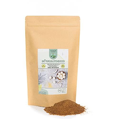 Azúcar de flor de coco orgánico (500g), de cultivo orgánico certificado, sin gluten, sin lactosa, probado en laboratorio, vegano