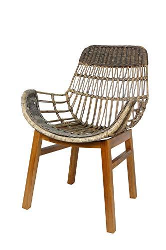 animal-design B-Ware Rattanstuhl Shelly Korb-Stuhl Retro Sessel Lounge Loft Esszimmer Küche Bistro Balkon Terrasse, Farbe:grau