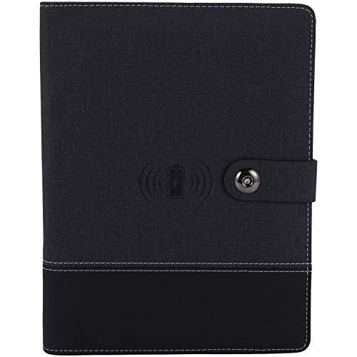 OVBBESS Cuaderno de Negocios Multifuncional A5 Power Book 8000 MAh Power Bank Qi Carga InaláMbrica Note Book Binder Spiral Diary Planner