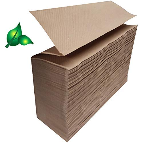 Recycled Unbleached Eco Paper Towels, 1000 Z Multifold Brown Organic...