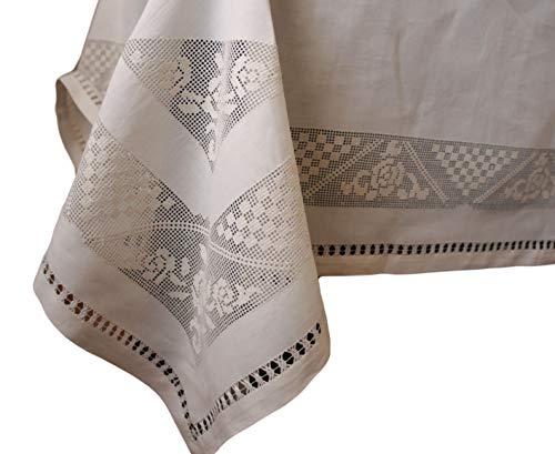 Stickereien Fiorentini Baldi Tischdecke aus 100% Leinen, beige, 165 x 280 cm, rechteckig x 12 cm, mit 12 Servietten mit umlaufendem Saum. Ausschnitt, große Lilie.