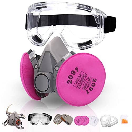 Reusable Half Facepiece Cover Set- ANUNU Half Facepiece with Safety Goggle/Filters Against Dust Organic Vapors Fumes Sawdust for Epoxy Resin Welding Chemical Woodworking