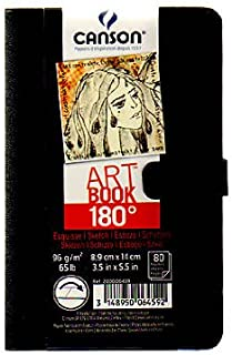 Canson 180 Degree Hardbound Sketch Books 3 1/2 in. x 5 1/2 in. 80 sheets [PACK OF 2 ]