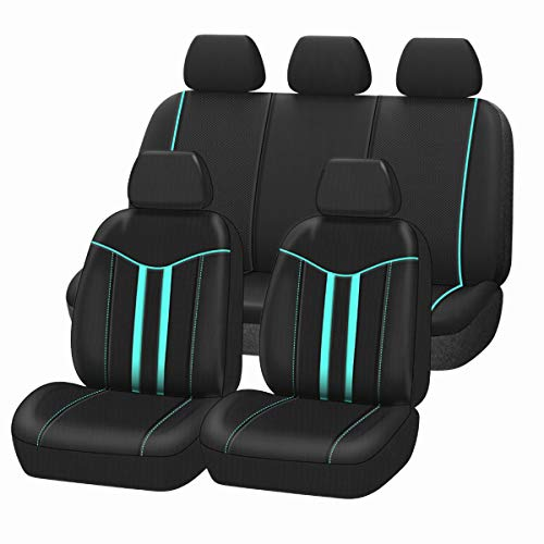 CAR-GRAND Universal Fit Rainbow Full Set Car Seat Covers,Airbag Compatible with Zipper Design,Fit for Suvs,Trucks,Sedans,Vans,Cars (Mint)