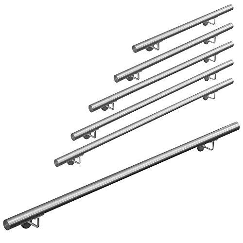 Edelstahl Handlauf Treppengeländer Geländer Wandhandlauf Wand Treppe 50-1000 cm V2Aox, Länge:180 cm