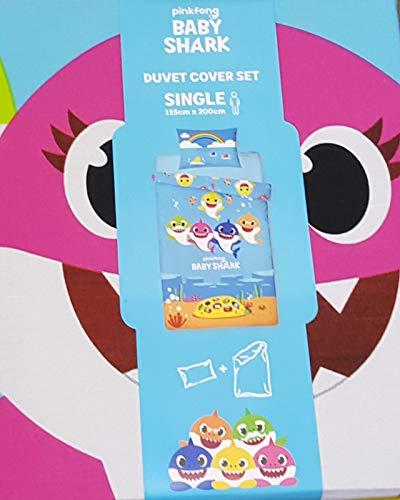 -; Pinkfong Baby Shark Reversible Single Duvet Cover Set Gift New