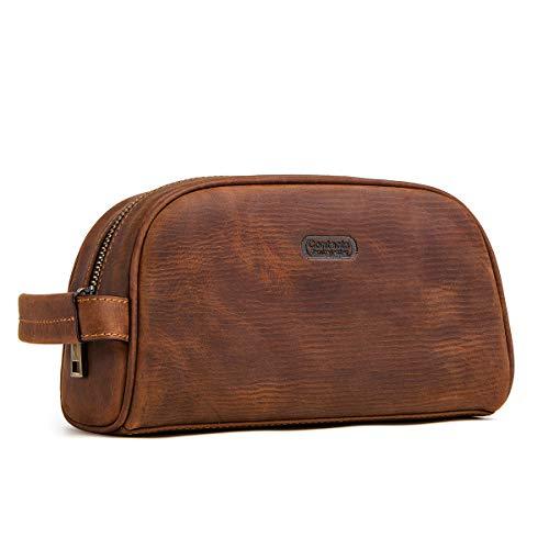 Contact Crazy Horse Cow - Neceser de viaje con cremallera de cuero marrón marrón talla única