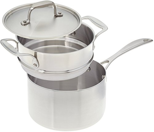 American Kitchen Cookware 3-quart Stainless Steel Saucepan with Double Boiler Insert and Fitted Cover; Tri-Ply Stainless Steel; Manufactured in USA