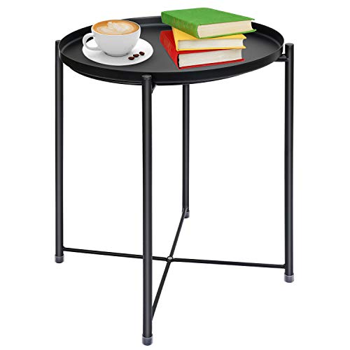 """Tray Metal End Table, Round Tray End Table, Sofa Table Small Tray Metal Side Tables, Foldable Accent Coffee Table, Anti-Rust and Waterproof Outdoor & Indoor Snack Table - (H) 20.5"""" x (D) 16"""" -Black"""