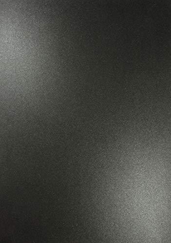Netuno 10 x Perlmutt-Schwarz 120g Papier DIN A4 210x297mm Majestic Anthracite doppelseitig schimmernd Perlglanz Pearl-Papier metallic glänzend Bastel-Karton für Inkjet und Laser Drucker