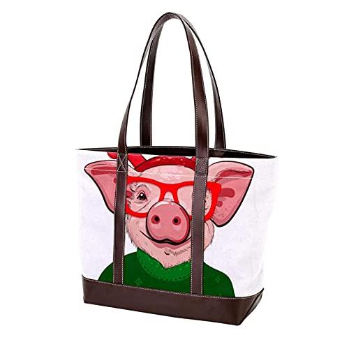 Sac à main Shopping sacs à main sacs à bandoulière cochon dans un pull de Noël sac fourre-tout pour mère femmes filles dames étudiant sangle légère