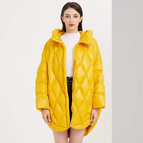 Witte eend donsjack, Mid-length winter jas met capuchon for mannen, Unique catwalk stijl, verborgen zakken, One size, 1pc (Color : Yellow)