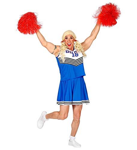 Party-Teufel Disfraz completo de animadora para hombre con parte superior, falda trenzada, peluca y dos pompones para hombre, talla L, despedida de soltero