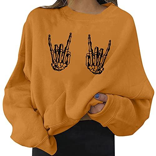 Camiseta de manga larga para mujer, disfraz de Halloween, sudadera suelta con falda de calavera, manga larga, camiseta con cuello redondo, naranja, XXL