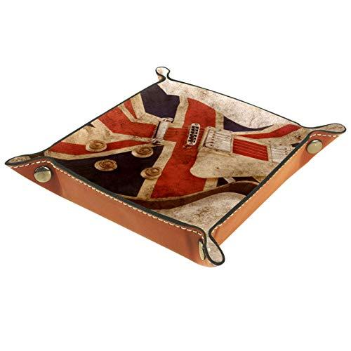 LynnsGraceland Bandeja de Cuero - Organizador - Bandera británica Guitarra eléctrica -...