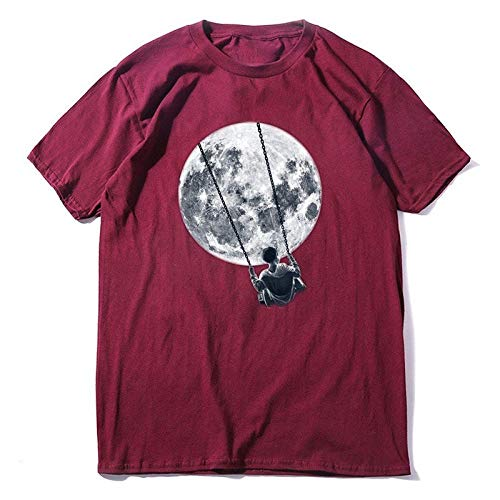 HUITAILANG Camisetas Hombre Camisetas Hombre Novedad Camiseta Gráfica, Impresión Swing Luna, Algodón Top, Personalidad De Hip Hop Unisex, Vino Tinto, Medio