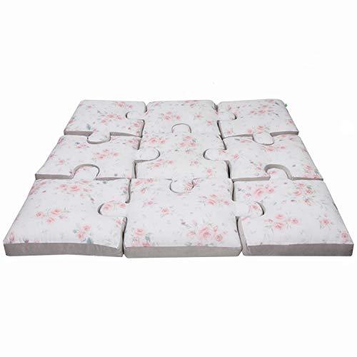 LULANDO Play Mat Puzzle Art Collection Series, 145 cm x 145 cm x 9 cm (+/- 2 cm), Set of 9 Pillows, high Quality Materials, 100% Cotton (Roses)
