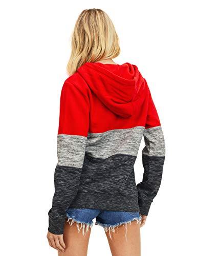 esstive Women's Ultra Soft Fleece Midweight Casual Tri-Color Block 1/4 Zip-Up Pullover Hoodie Sweatshirt, Red, Medium