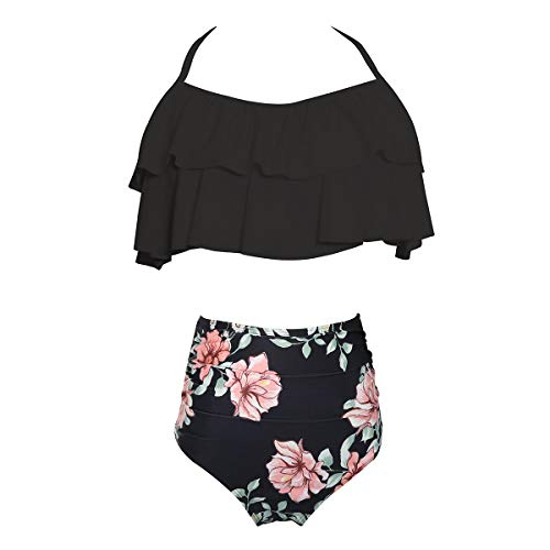 Mother Daughter Swimsuits Matching Family Mommy Girls Matching Swimwear 164 Black Flower 9-10 Years