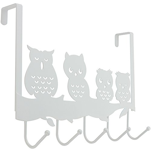 com-four® Türhängeleiste Eule mit 5 Haken aus Metall (01 Stück - Eule)