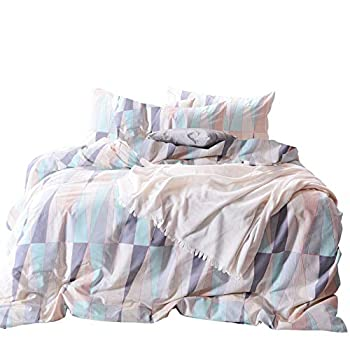 Wake In Cloud - Geometric Comforter Set 100% Cotton Fabric with Soft Microfiber Fill Bedding Abstract Triangle Modern Pattern Printed  3pcs Queen Size