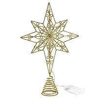 クリスマスツリースターオーナメント、クリスマスデコレーション用のLED付きゴールドグリッタークリスマスツリートッパースター
