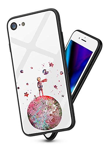 Funda Compatible para iPhone XS MAX Cubiertas Vidrio Templado Trasera Patrón Lindo Suave Silicona Borde de TPU Bumper Anti-Rasguño Anti-Shock Protectora Carcasas Case (Principito)