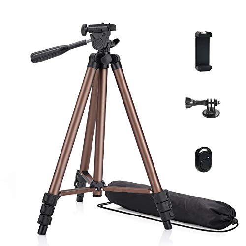 Phinistec 125cm Aluminium Stativ für Handy, Kamera, iPhone, Gopro, Projektor mit Smartphone Halterung und Bluetooth Fernauslöser und Gopro Adapter mit Tragetasche (Brown)
