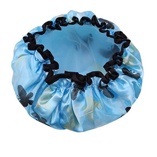 Kaned réutilisable Bonnet de Douche Fleur imprimé Bonnets de Bain Salon de beauté Spa Douche Bonnets, Papillon sur Fond Bleu