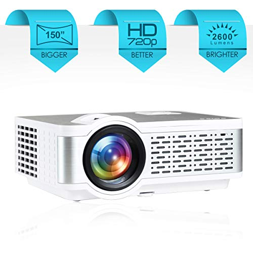 EGate i9 Pro-Max Full HD 1080p Modulated at 720p Base | 2600 L (270 ANSI ) with 150 ' (3.8 m) Large Display LED Projector | VGA , AV, HDMI , SD Card , USB, Audio Out Connectivity | (E03i31) (White)