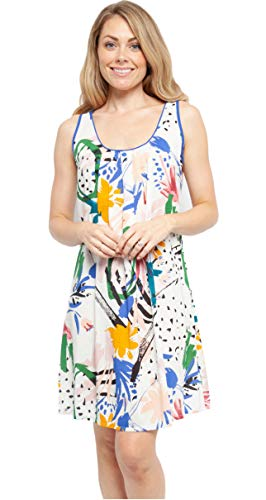 Cyberjammies Dames Nachtkleding Abstract Print Mouwloos Katoen Chemise Nachtjapon 'Alicia' (4440)