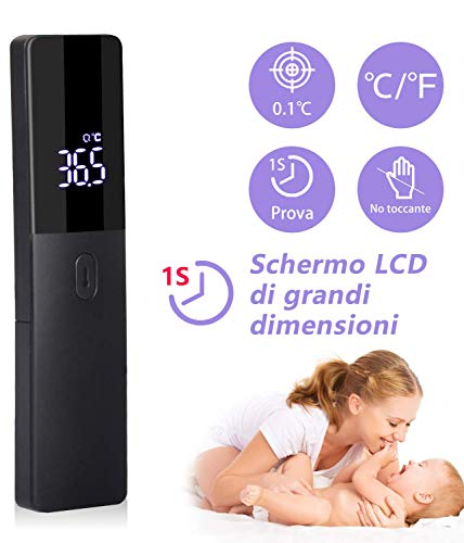 Termómetro frontal por infrarrojos, AGM, termómetro digital sin contacto con pantalla LED, termómetro médico para bebés, niños y adultos