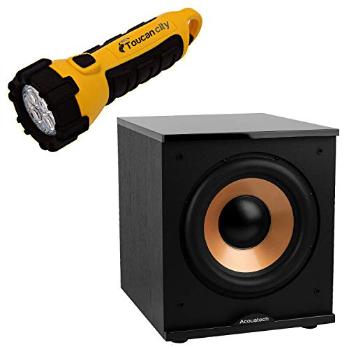 Toucan City LED Flashlight and America 500-Watt Acoech Series 12 in. Front-Firing Powered Subwoofer H-100II