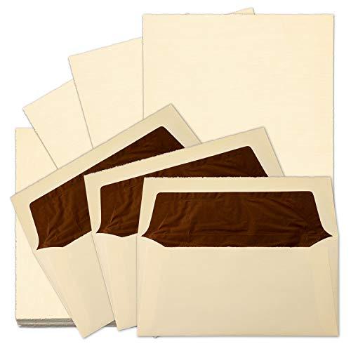 10x echtes Bütten-Papier Vintage Brief-Set Chamois A4 Brief-Papier & gefütterte Umschläge - unregelmäßig wild-gerippt - von Zerkall Bütten