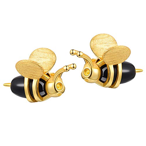 Lotus Fun - Orecchini a forma di ape miele, in vero argento Sterling 925, creativi, realizzati a mano, gioielli raffinati per donne e Argento, colore: gold, cod. LFJA