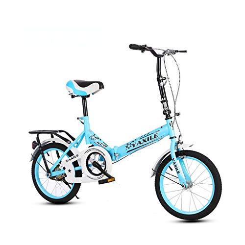 Fahrrad Faltrad City Bike Lightweight Bike City Faltrad 20 Zoll Erwachsene Kinder und Studenten (Color : Blue)