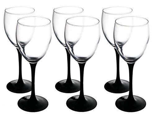 Juego de 6copas de vino blanco de altura tallo largo negro 250ml