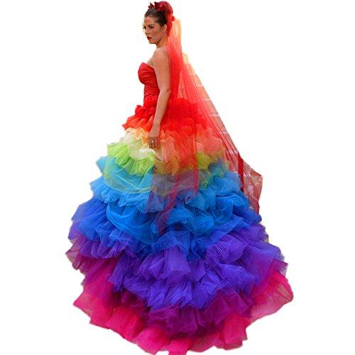 CoCogirls Schatz Bunt Brautkleider Regenbogen Meerjungfrau Hochzeitskleid Ballkleid Party Prom Kleider Abendkleid (56, Regenbogen)