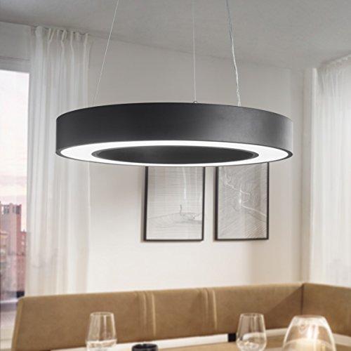 plafonnier LED cercle autour EEK métal noir mat A + plafonnier de bureau 48 Watt Ø 60 cm | Le travail de conception lampe suspendue 4080 lumens blanc froid sans écran | lampe pendentif bureau IP20